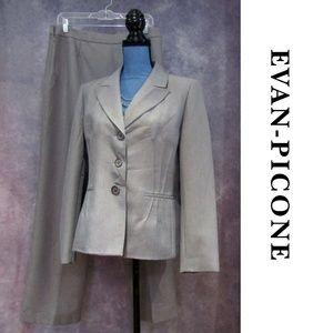 Evan Picone Classic Gray Pants Suit Blazer Set 10